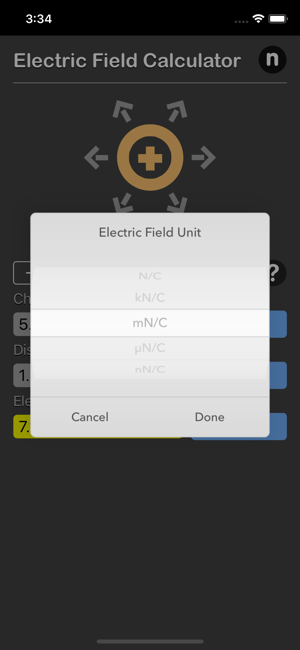 Electric Field Calculator iOS App for iPhone and iPad