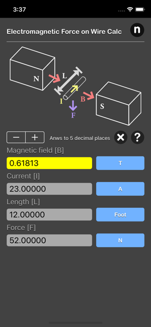 Electromagnetic Force on Wire iOS App for iPhone and iPad