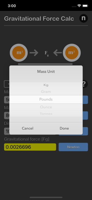 Gravitational Force Calculator iOS App for iPhone and iPad
