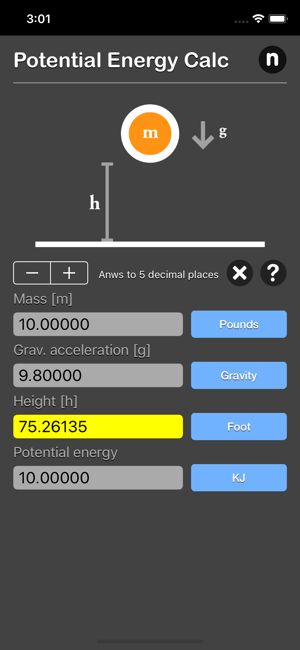 Potential Energy Calculator iOS App for iPhone and iPad