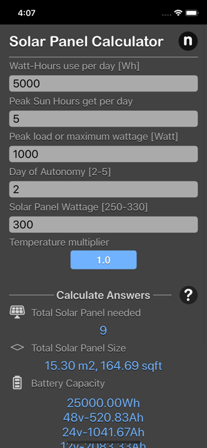 Solar Panel Calculator Plus iOS App for iPhone and iPad