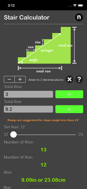 Stair Calculator Plus iOS App for iPhone and iPad