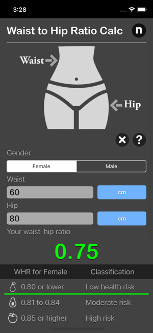Waist to Hip Ratio Calc iOS App for iPhone and iPad