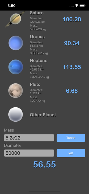 Weight on Other Planets Conv iOS App for iPhone and iPad
